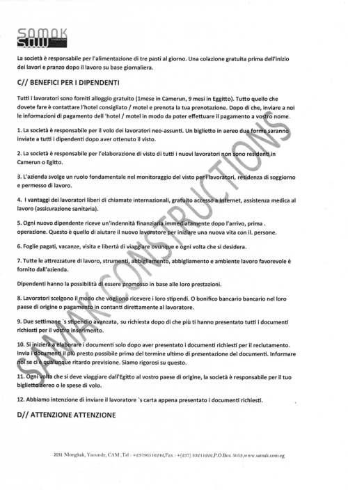 Esempio di truffe offerta lavoro camerun samak - Contratto preliminare esempio ...