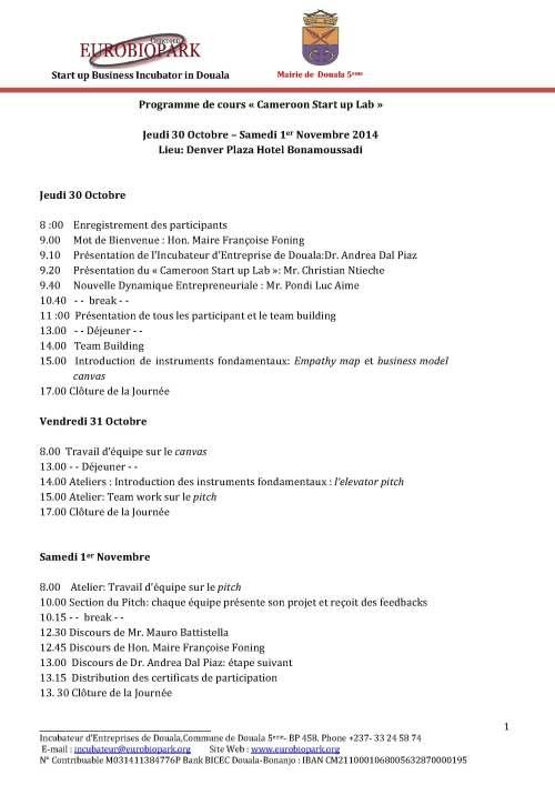 Cameroon Startup Lab - Program of the workshop October 2014
