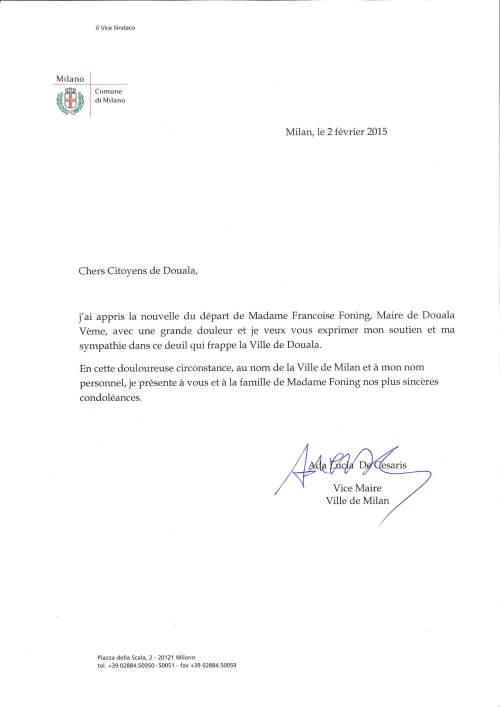 Condoglianze Vice Sindaco De Cesaris